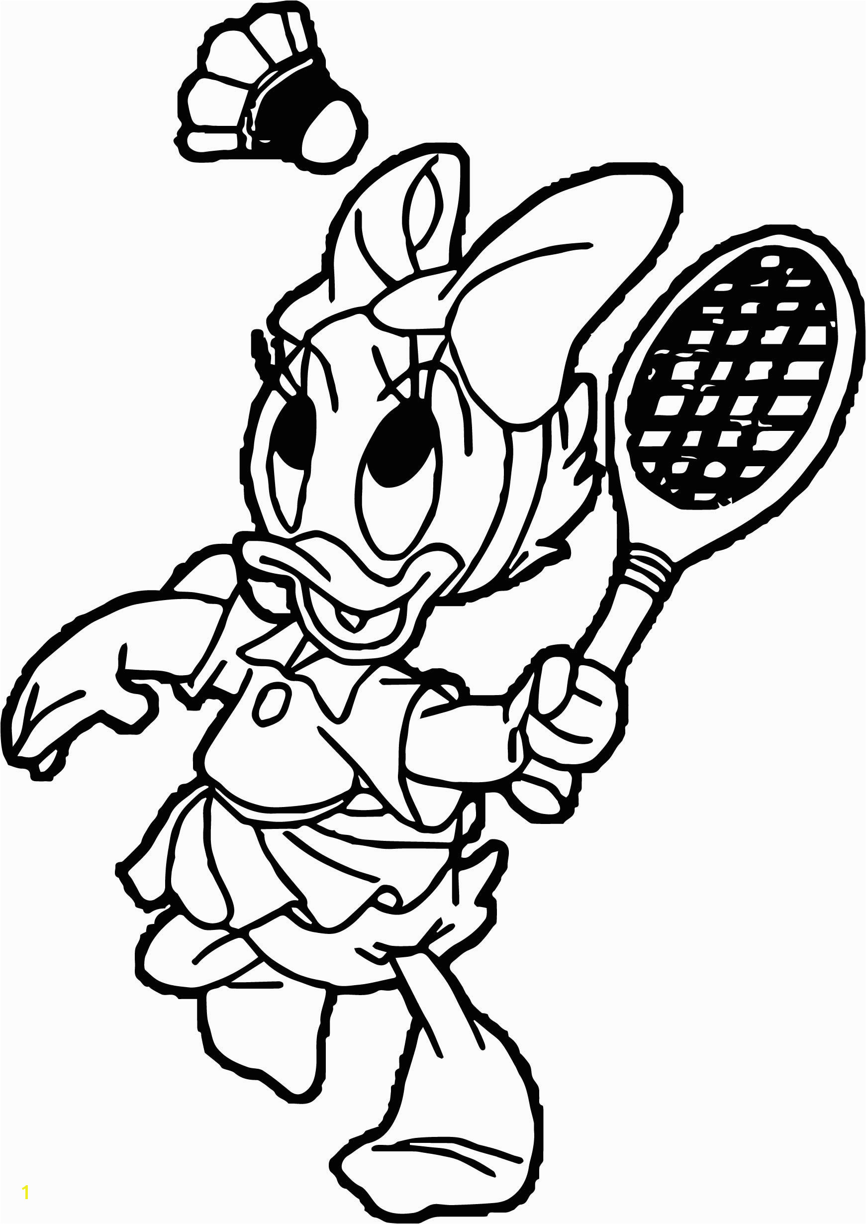 cool Baby Daisy Duck Playing Badminton Coloring Page