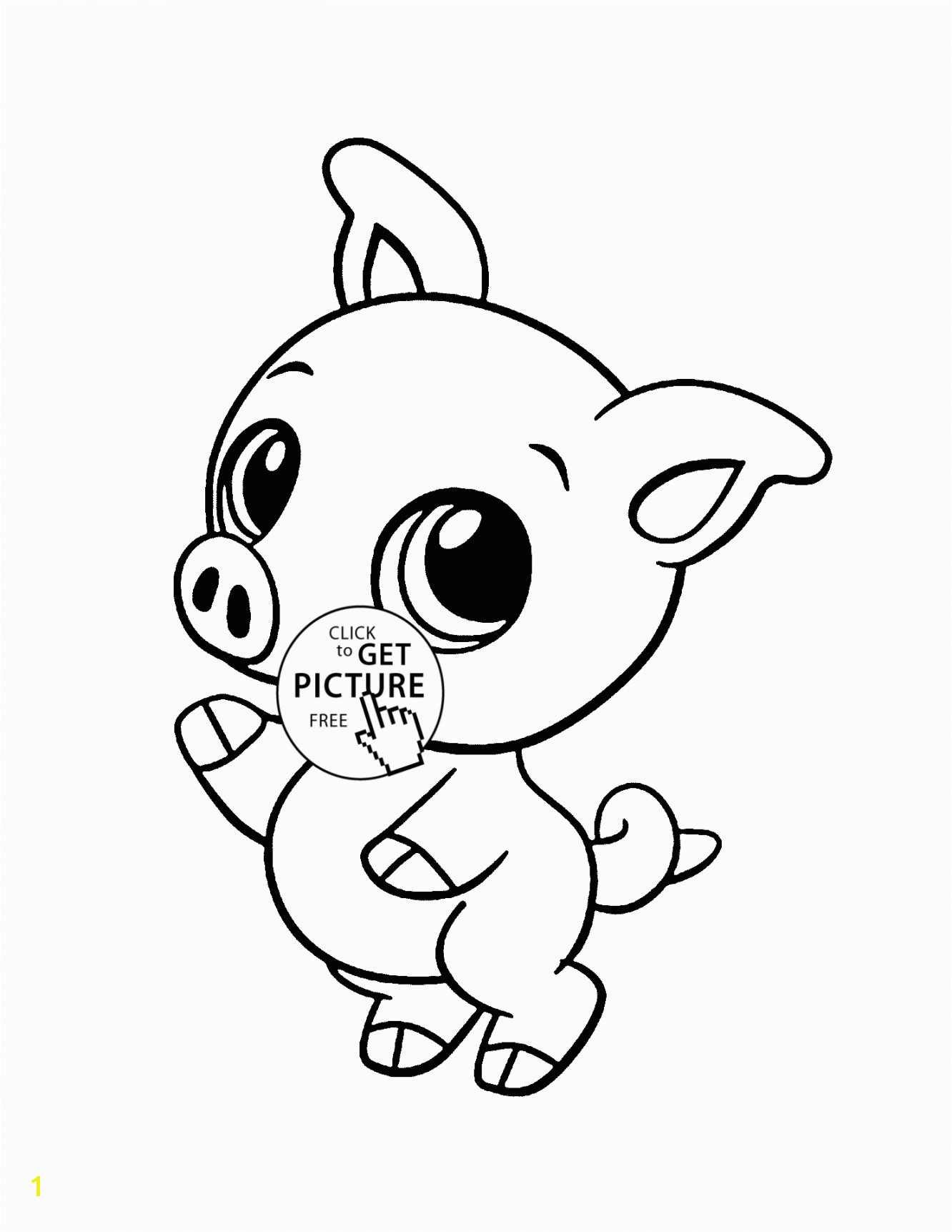 Baby Pig animal coloring page for kids baby animal coloring pages