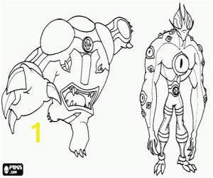 Cannonbolt and Eye Guy · BenWolf a Ben 10 alien coloring page