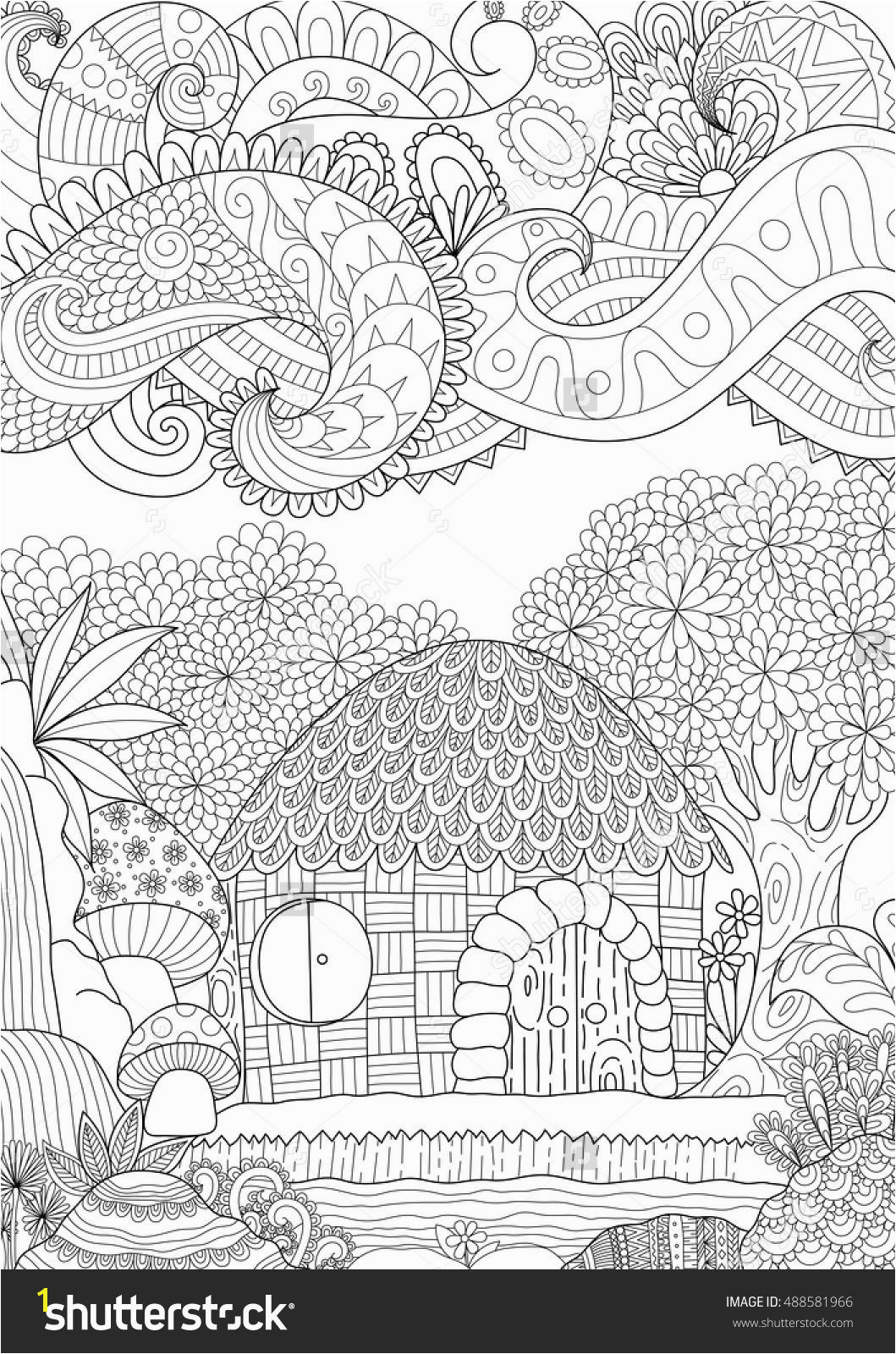 Zendoodle design of small hut in the forest with abstract clouds for adult coloring