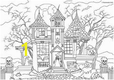 Horror Scenes – Haunted House House Colouring PagesColoring