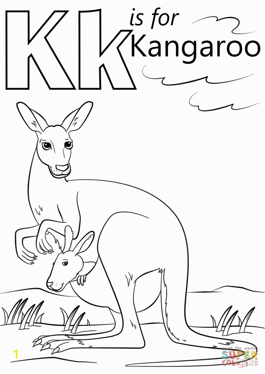 Coloring Pages Of Kangaroos Letter K is for Kangaroo Preschool Coloring Page Free Printable