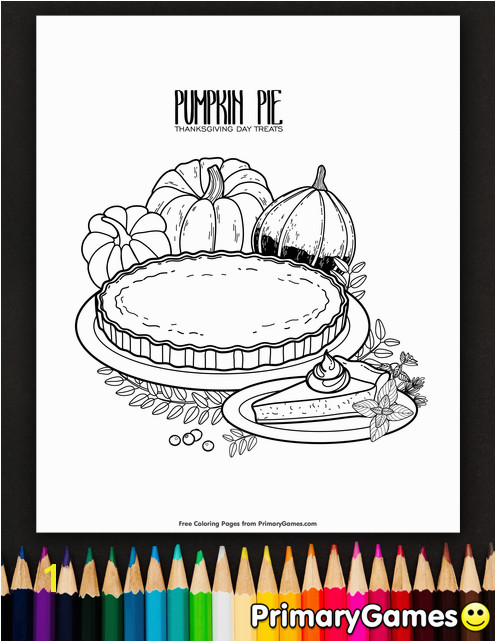 Free printable Thanksgiving Coloring Pages eBook for use in your classroom or home from PrimaryGames Print and color this Pumpkin Pie coloring page