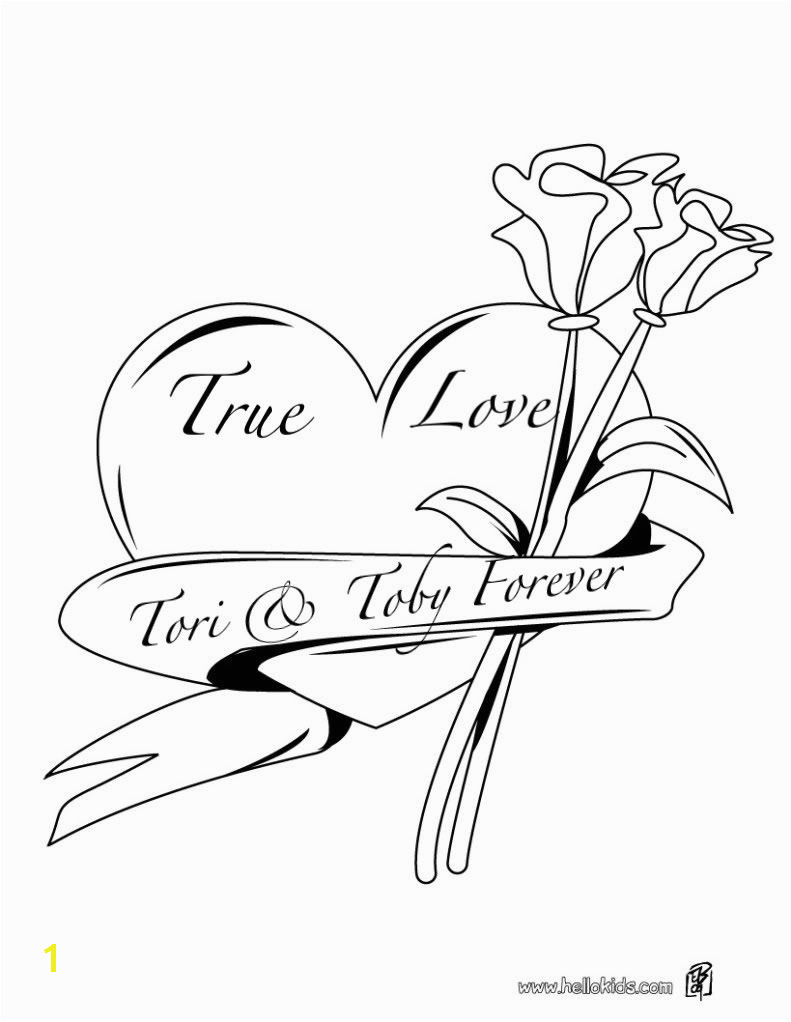 Coloring Pages Of Roses and Hearts Hearts and Roses Coloring Pages