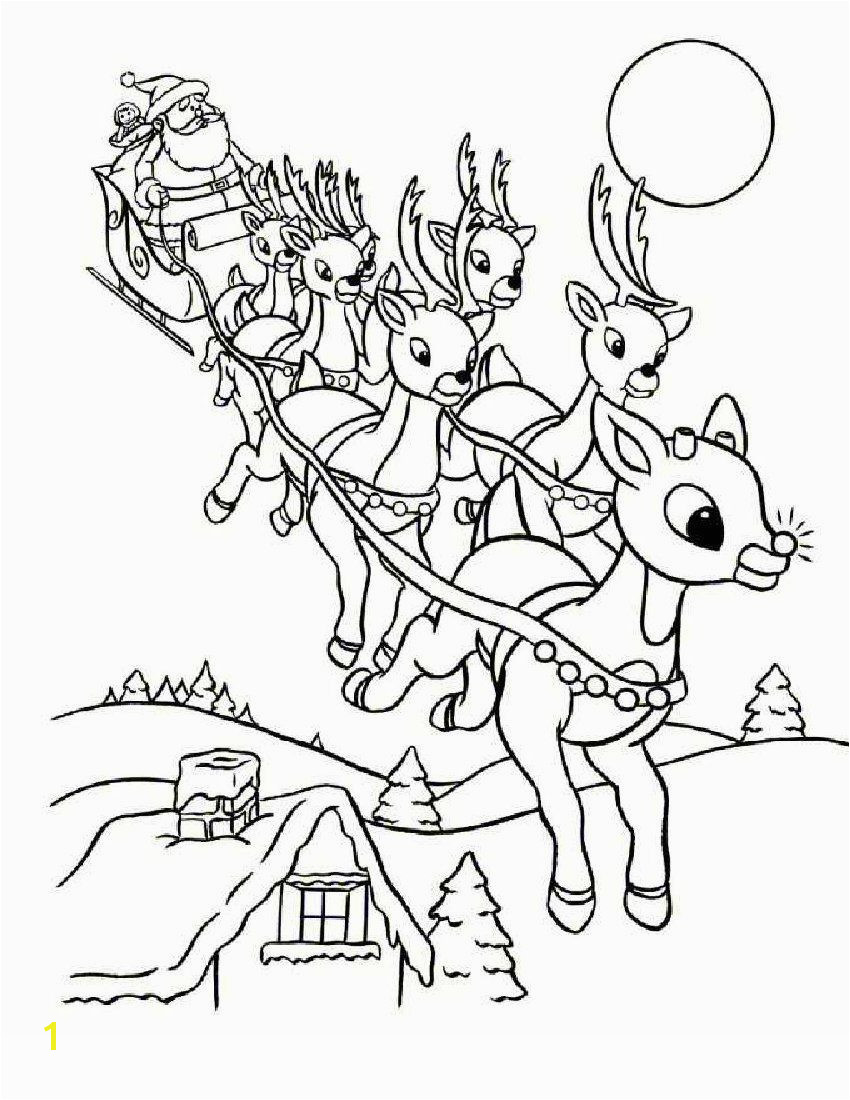 Color the red nosed reindeer recognized popularly as Rudolph who ride Santa sleigh along with group of Rudolph