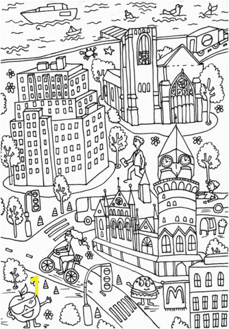Western Union Building and Jefferson Market Library coloring page