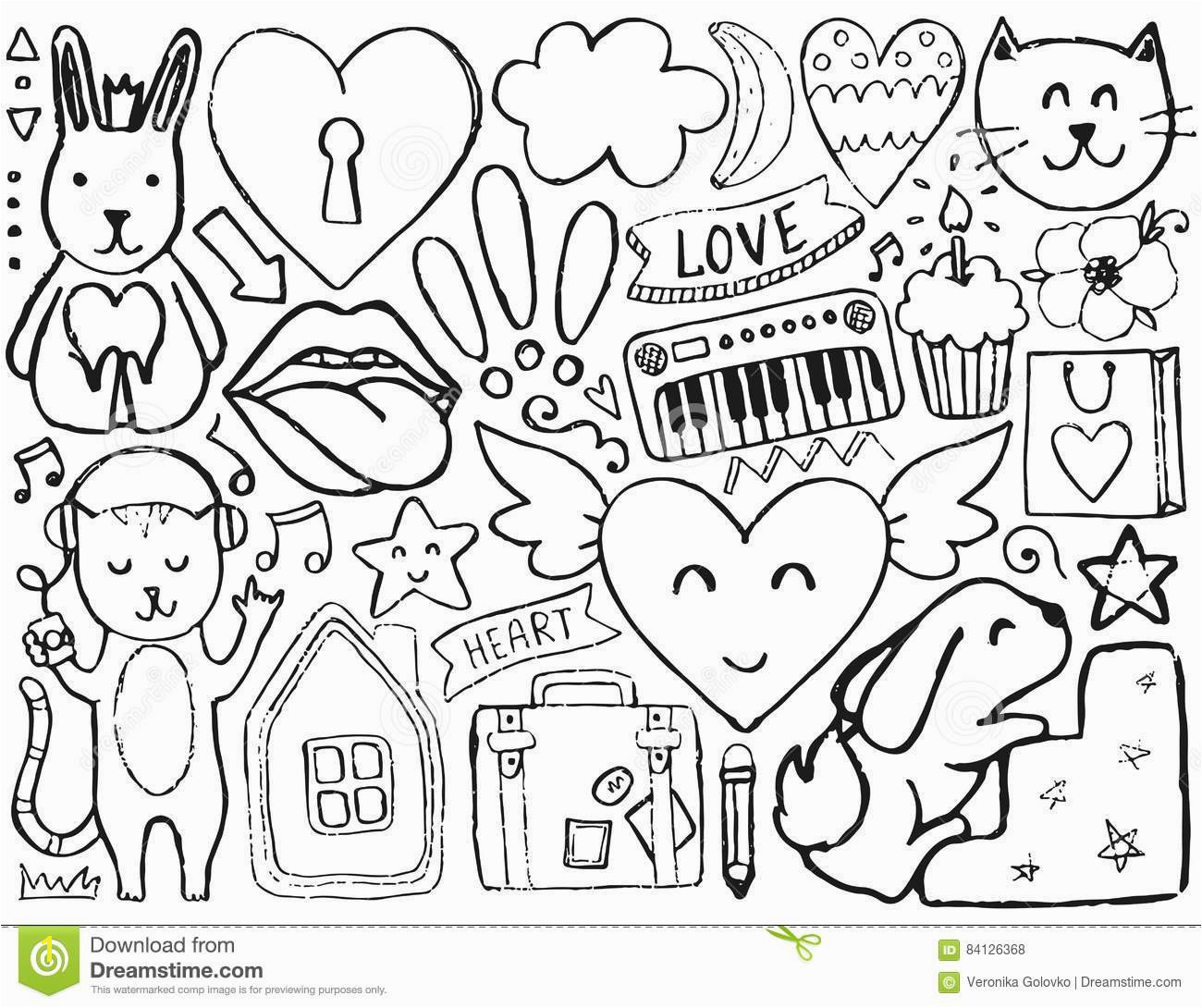 Vector coloring page Illustration with hearts and flowers animals and lips cloud and stars Design for prints and cards