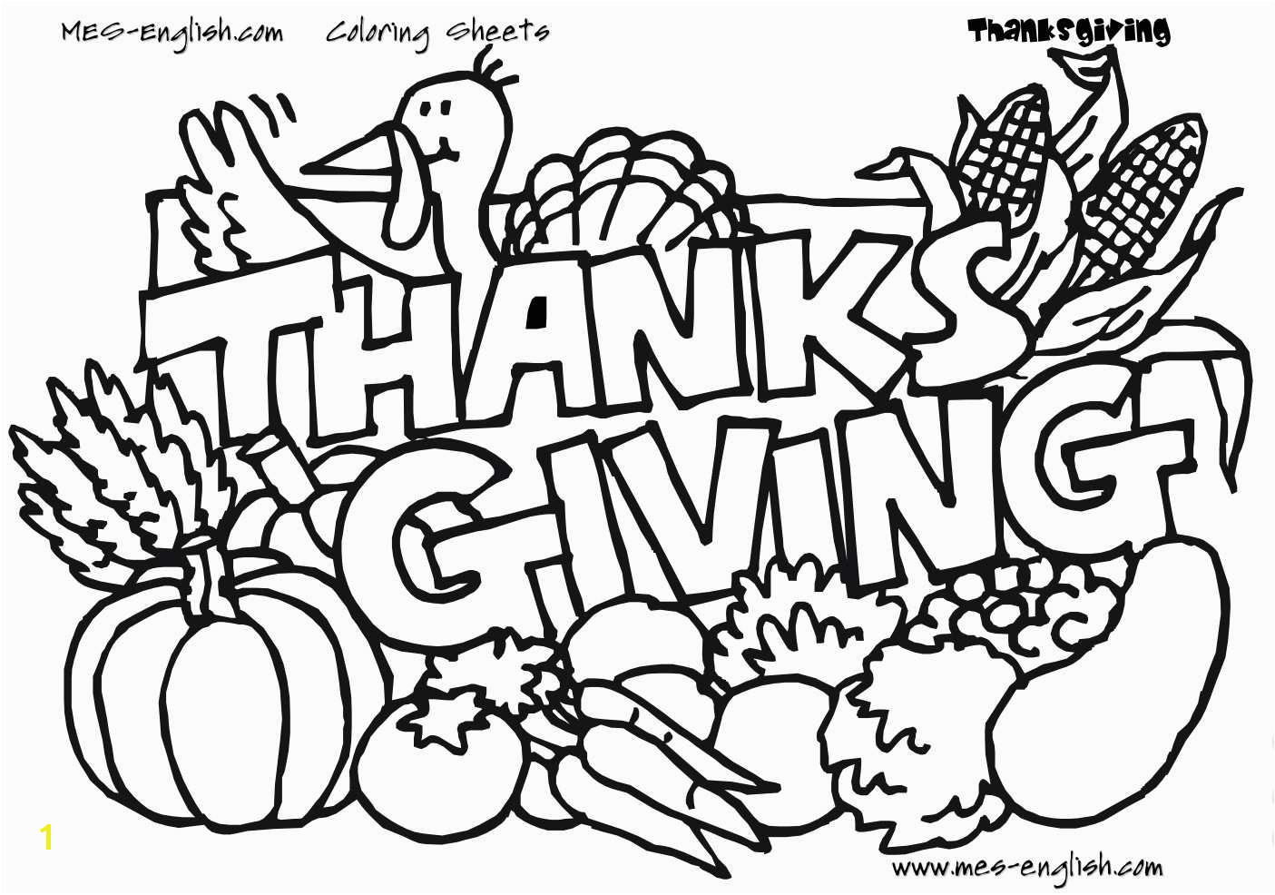"Unique Thanksgiving Coloring Pages A turkey and ve ables with the phrase ""Thanksgiving """