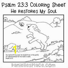 Psalm 23 3 He Restores My Soul Coloring Sheet for Sunday School Bible