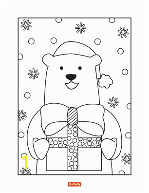 bear with present coloring page