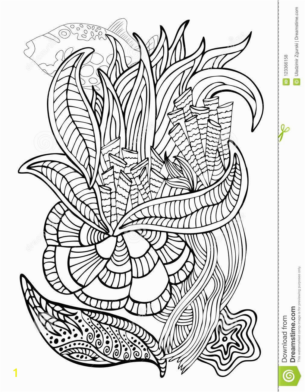 Hand drawn page in zendoodle style for adult coloring book Abstract marine and floral motifs with coral fishes seashells and seaweeds