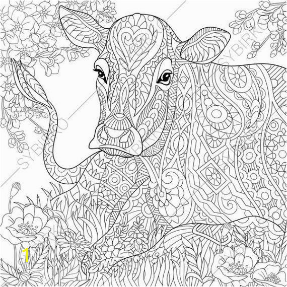 Adult Coloring Pages Cow Zentangle Doodle Coloring Book Page for Adults Digital illustration Instant Download Print