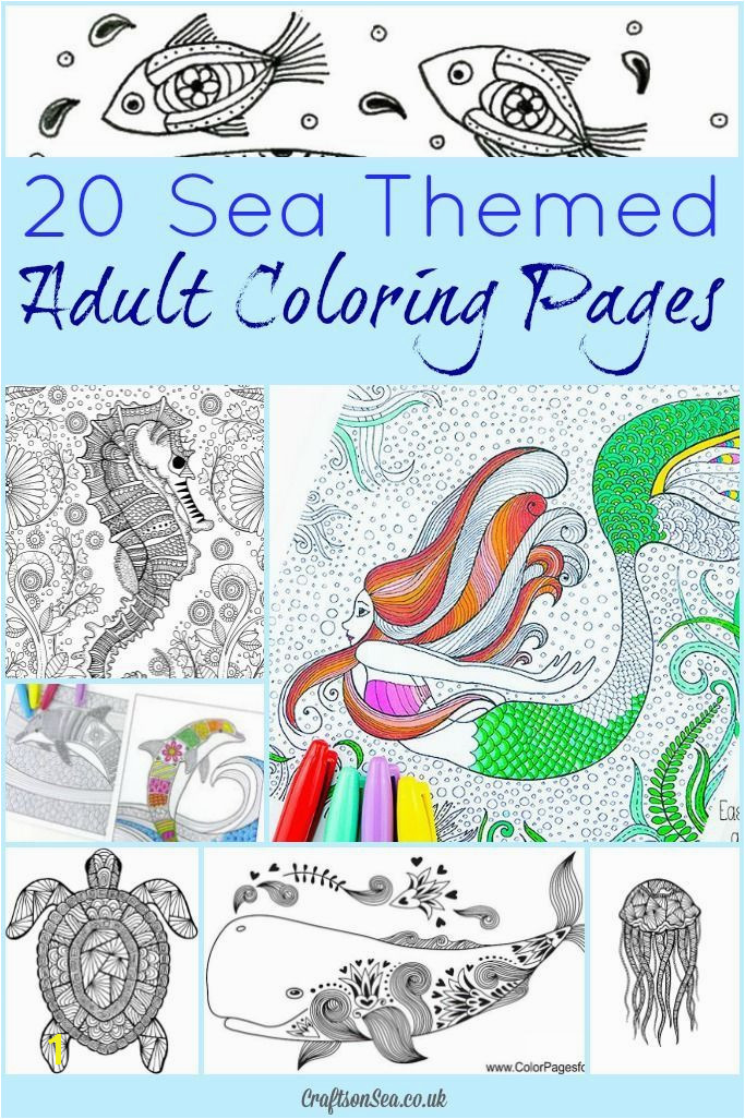 Relax and enjoy these beautiful sea themed adult coloring pages Gorgeous ocean designs for you to