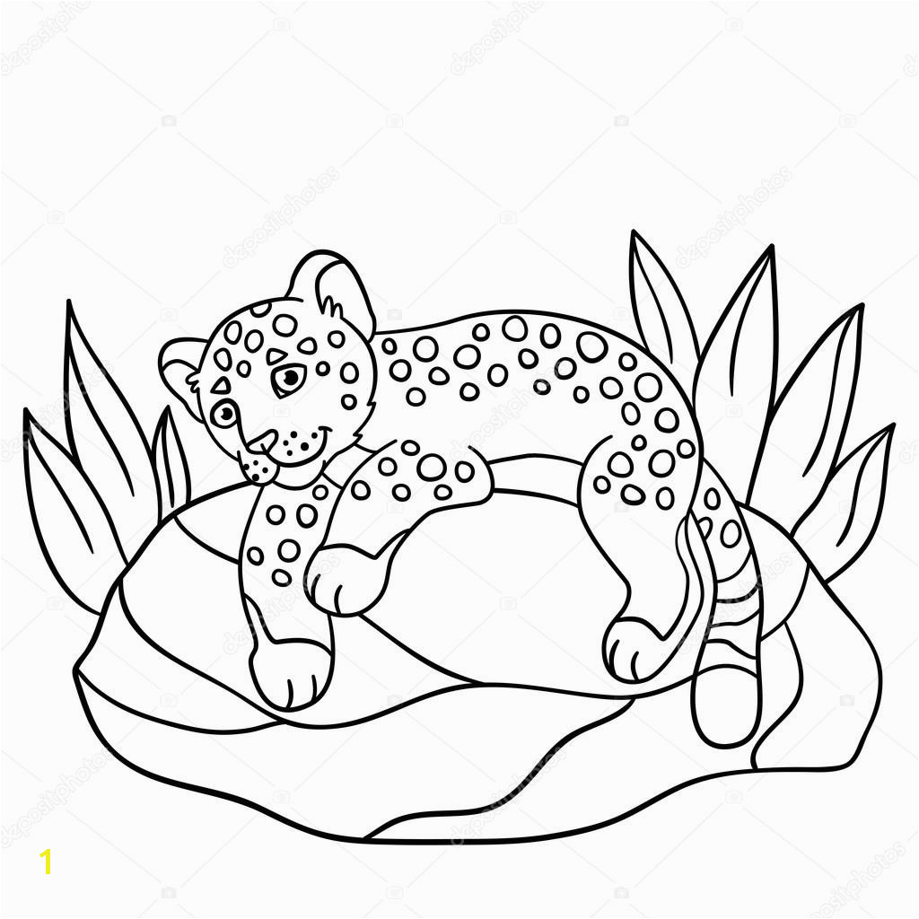 Coloring pages Little cute baby jaguar lays on the stone and smiles — Vector by ya mayka