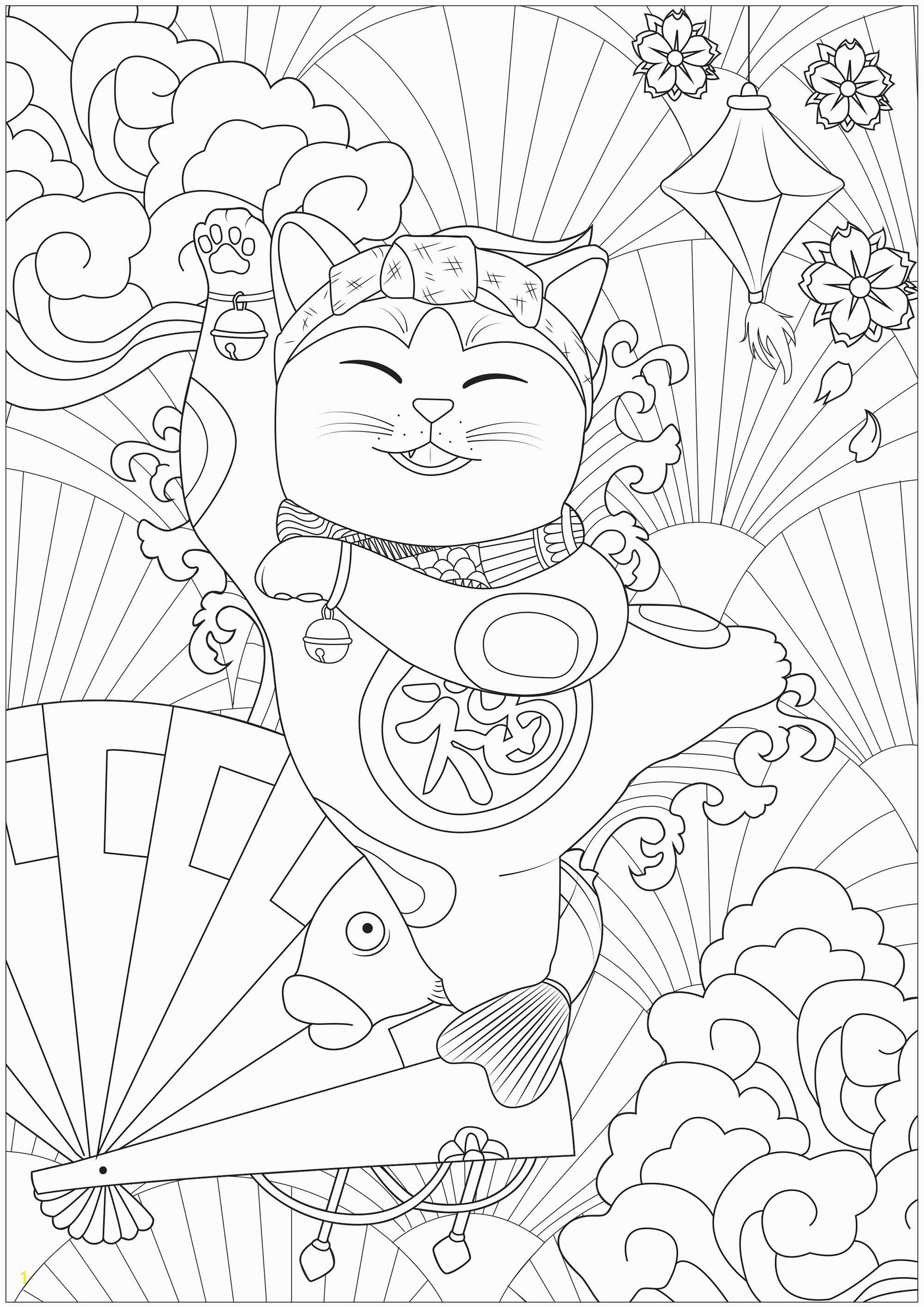 Dancing Maneki Neko cat Japan Adult Coloring Pages