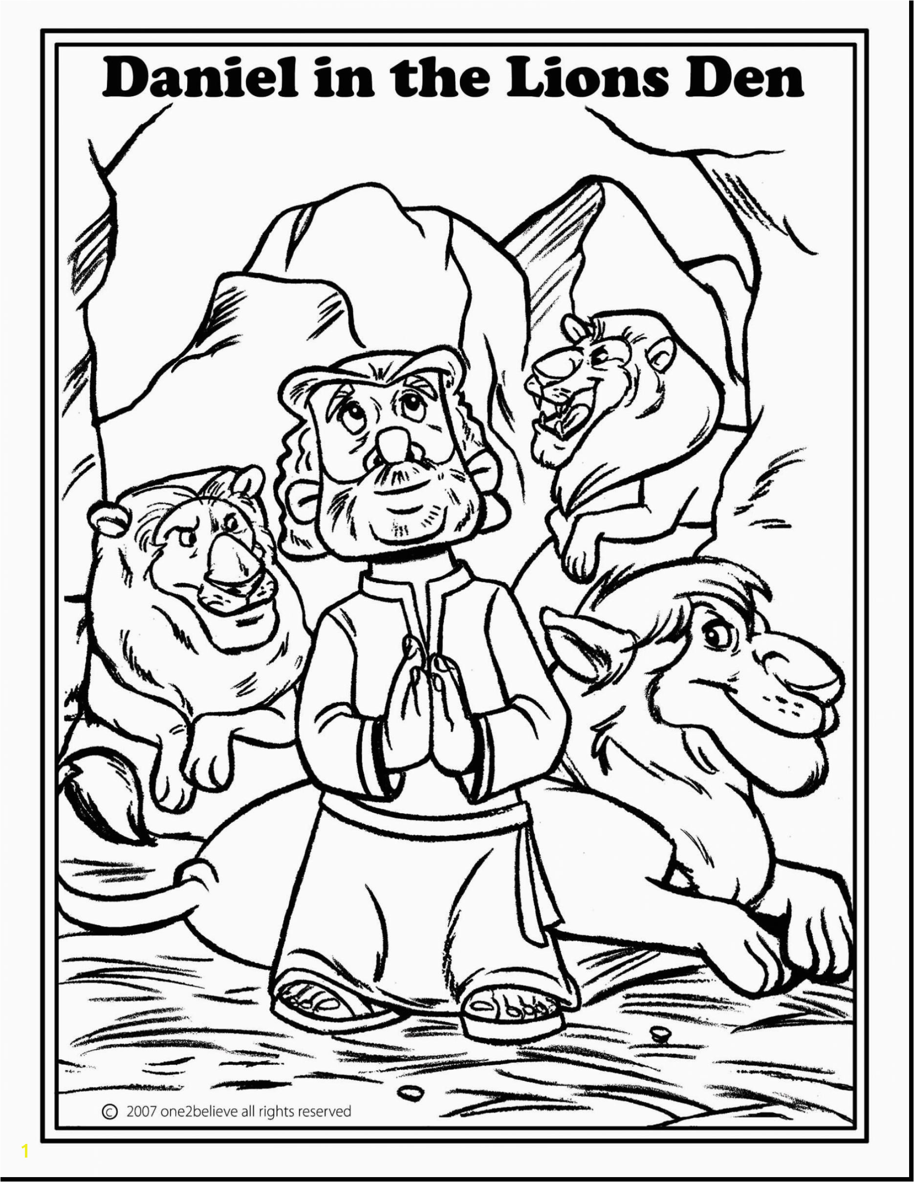 Daniel and the Lions Den Coloring Page Daniel and the Lions Den Coloring Pages