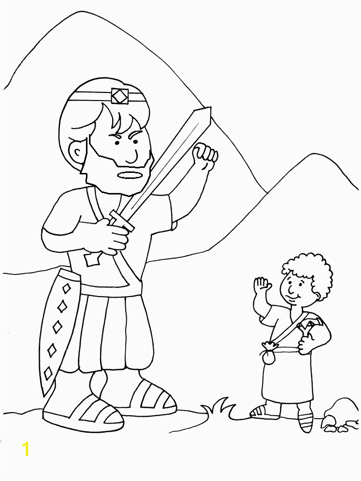 David and Goliath Coloring Pages with Story Goliath and David the Good Guy Kidmin
