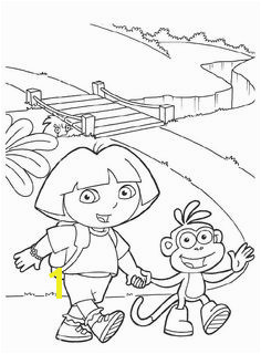 Dora And Boots Want To Walk Across The Bridge Coloring Pages Dora The Explorer Coloring