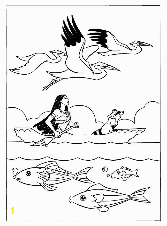 Pocahontas Up Boat With Meeko Coloring Pages Princess Pocahontas Disney Pocahontas Kids Colouring