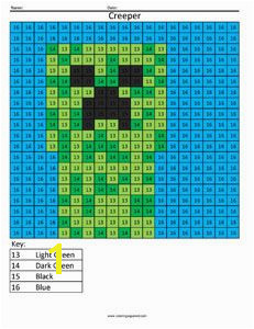 Minecraft Creeper Color by Number Minecraft Coloring Pages Sumo Math Enrichment Math
