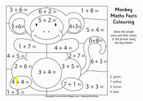 Monkey maths facts colouring page