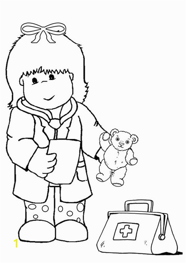 Free line Kid Doctor Colouring Page