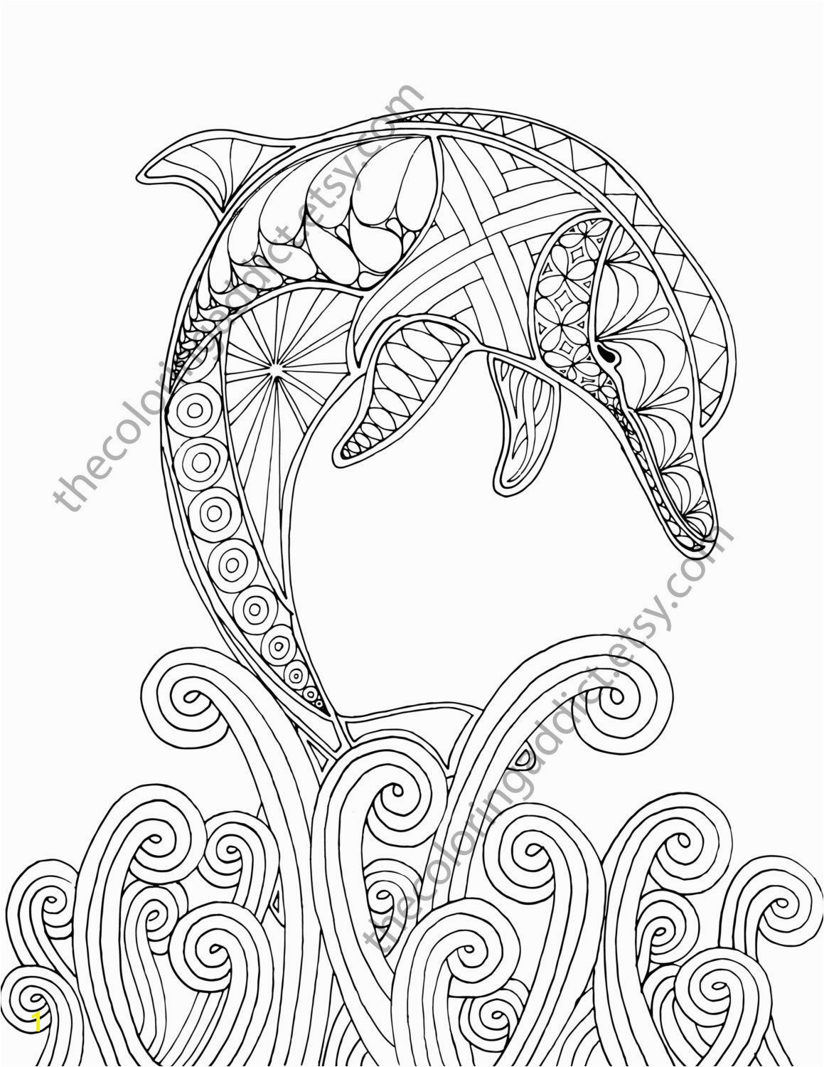 dolphin coloring page adult coloring sheet by TheColoringAddict