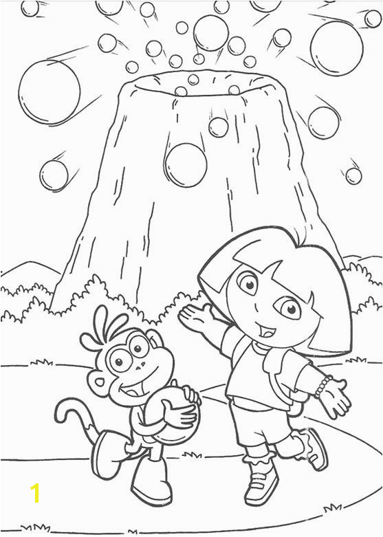 Dora And Boots Are Near Mount Coloring Pages Dora the Explorer cartoon coloring pages