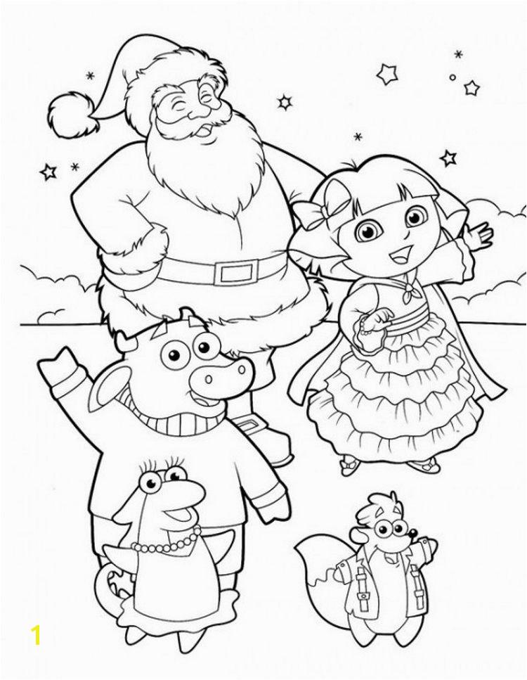 dora explorer winter coloring pages