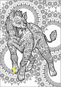 "Hyena Advanced Adult Coloring Page Creative Haven ""Untamed Designs"" by Dover Publications"