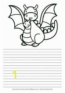 Dragon story paper story paper with cartoon dragon illustration Kindergarten Writing Prompts Writing Resources
