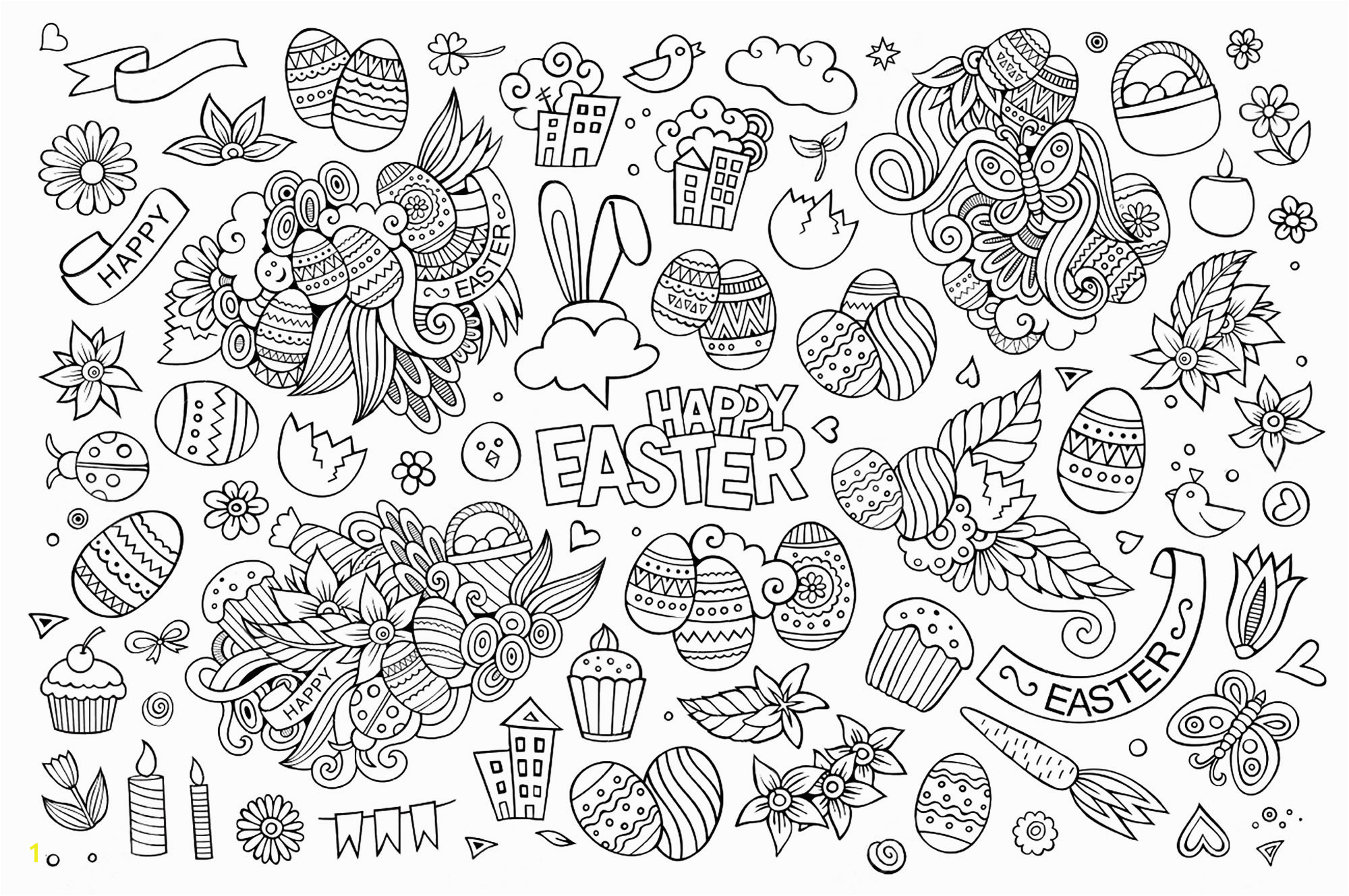 coloring adult simple easter doodle by olga kostenko