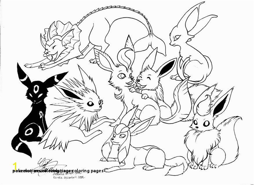 Eeveelutions Coloring Pages 22 Pokemon Eevee Evolutions Coloring Pages