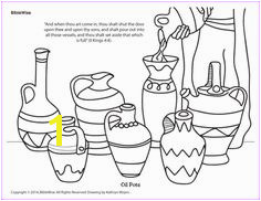 Enjoy coloring this picture of the pots Elijah poured oil into to to save the widow woman and her sons
