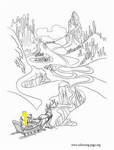 Anna Kristoff Olaf and Sven are on the way to the Elsa s ice palace · Coloring Pages
