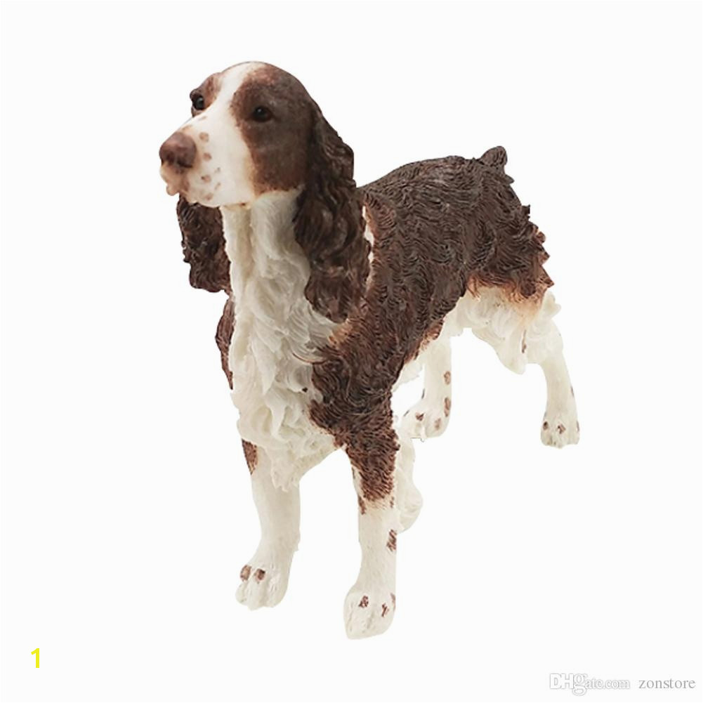 2019 English Springer Spaniel Dog Figurine Animal Statue Resin Dog Handmade Holiday Ornaments For Home Decoration Christmas Gift From Zonstore