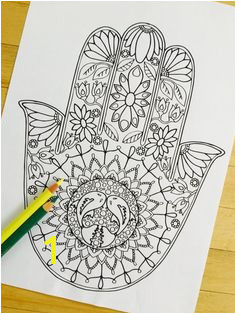 """Hand Drawn Adult Coloring Page Print """"Hamsa Water"""" Like this maybe put"""