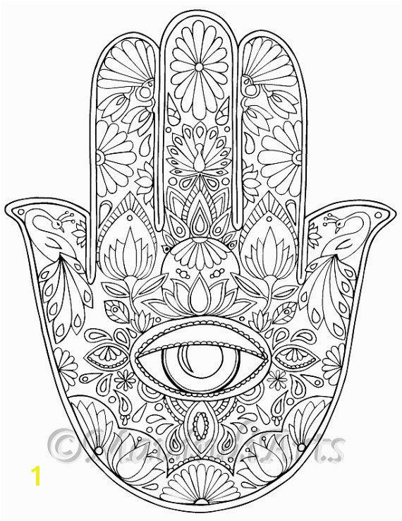 "Hand Drawn Adult Coloring Page Print ""Hamsa Eye"""
