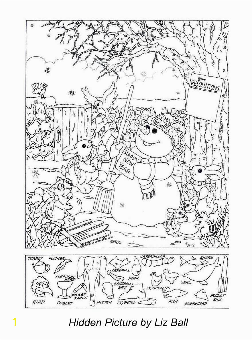 New Year s Day Hidden Picture Puzzle Coloring Page