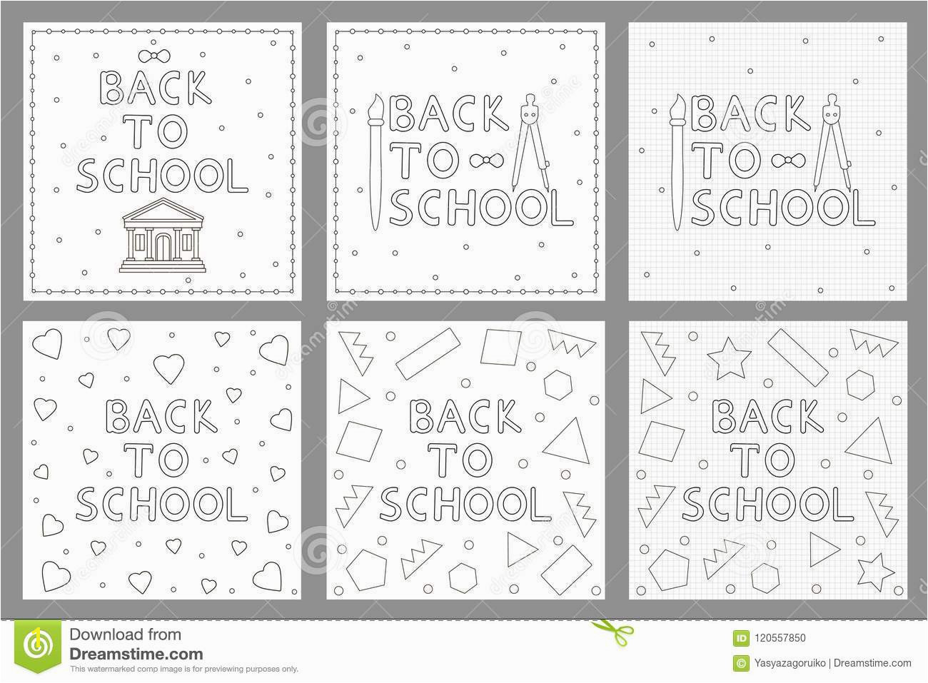 Back to school backgrounds set Coloring pages