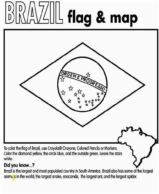 Brazil Flag Coloring Page o brazil flag