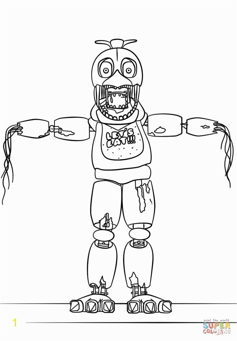 Fnaf Coloring Pages All Characters Elegant Fnaf withered Chica Coloring Page Fnaf Coloring Pages All