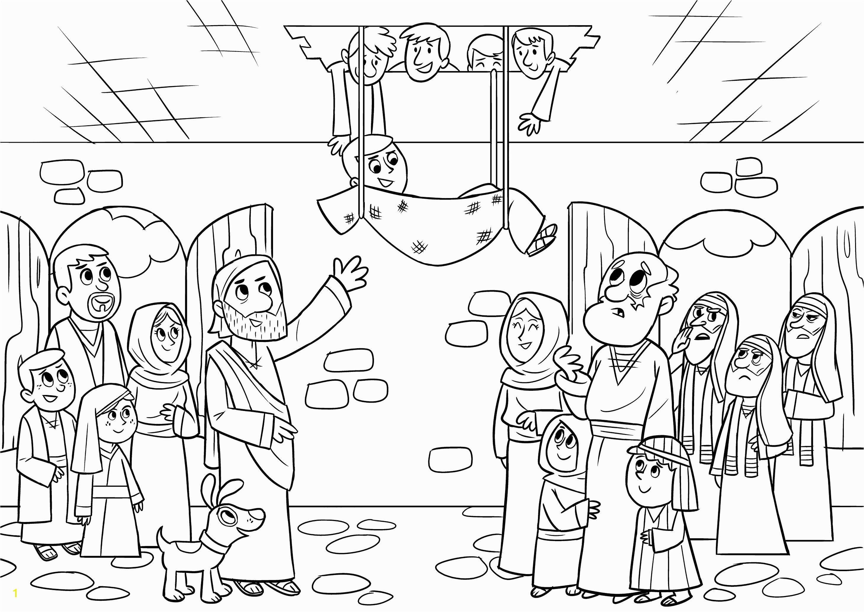 Four Friends Help A Paralyzed Man Coloring Pages Bible App for Kids Parent Resources