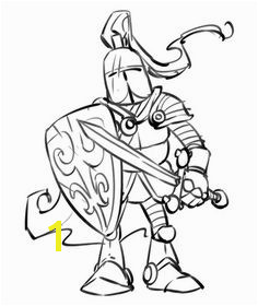 Cartoon Knight Coloring Page Me val Warrior