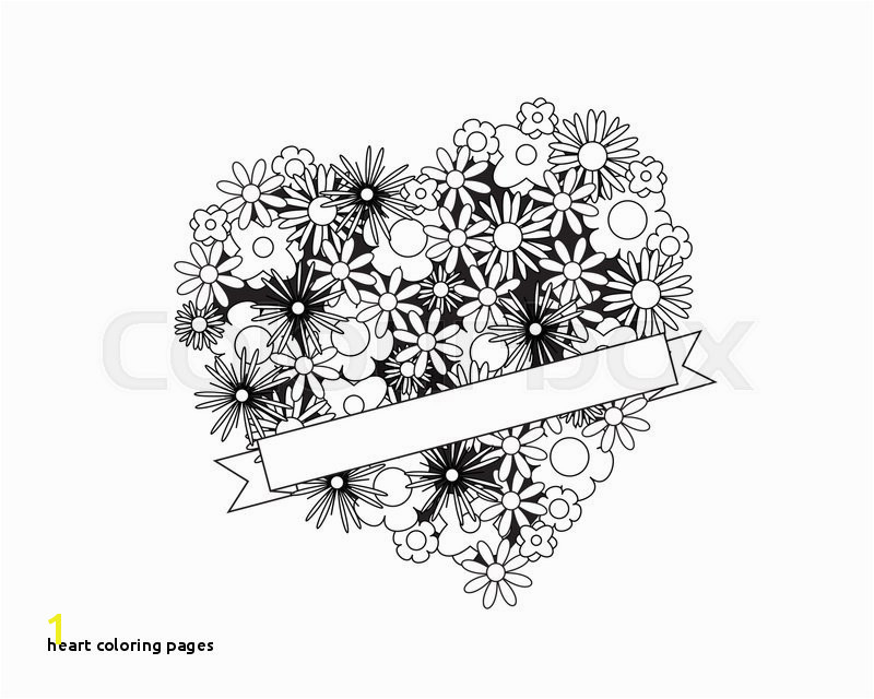 Heart Coloring Pages Coloring Page for Adult Od Kids Simple Floral Heart with Ribbon