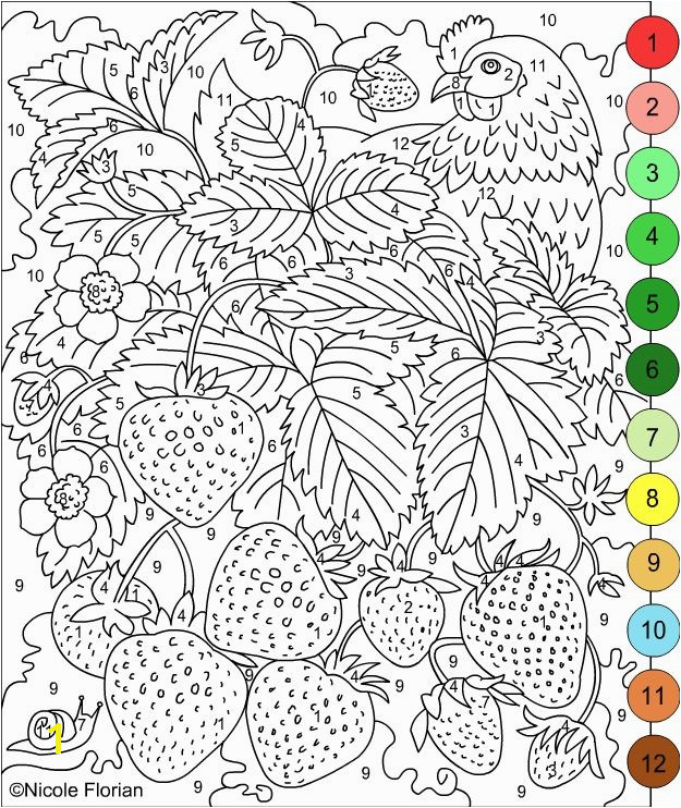 Nicole s Free Coloring Pages COLOR BY NUMBERS STRAWBERRIES and RASPBERRIES Coloring pages