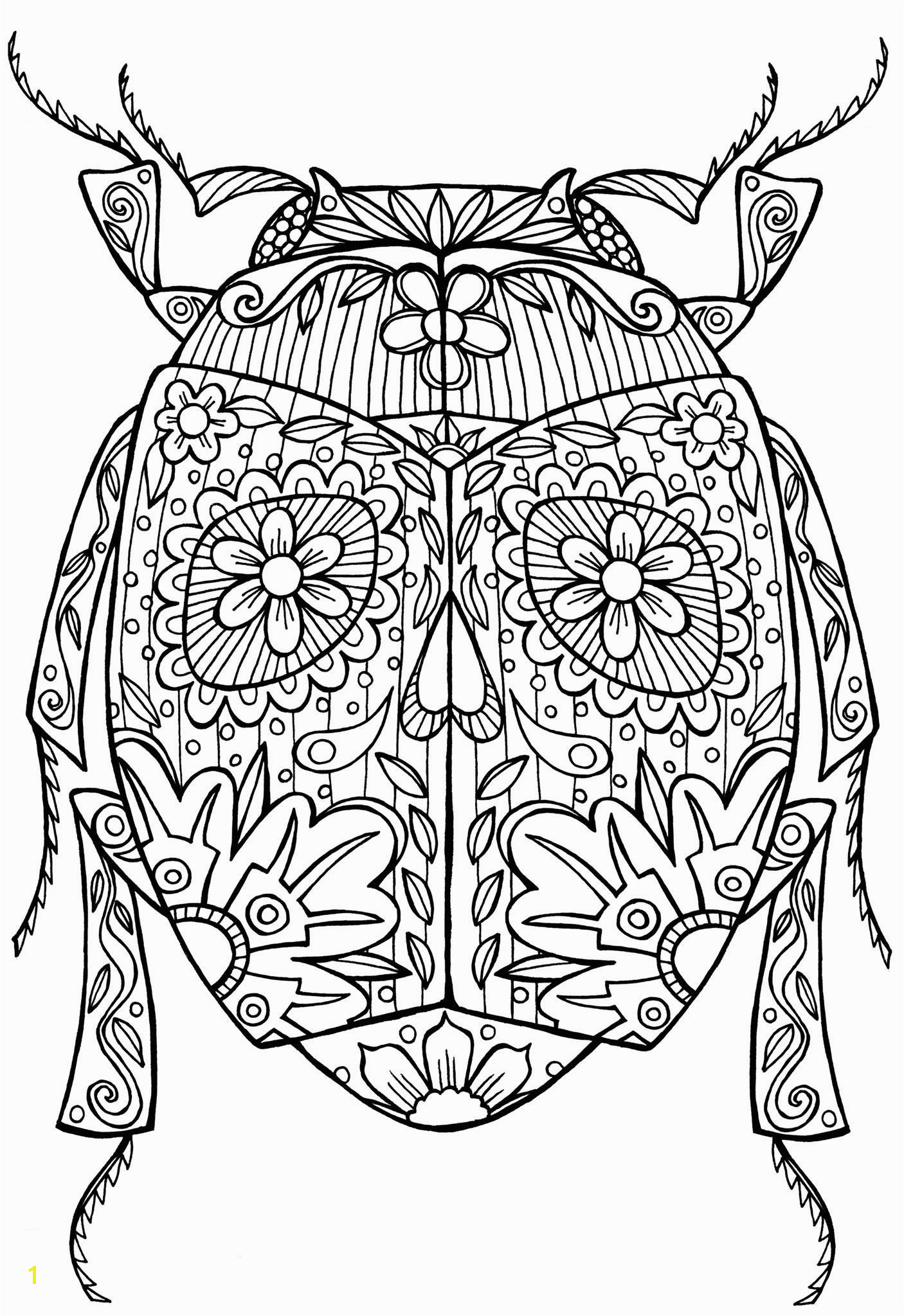 Beetle Bug Abstract Doodle Zentangle Coloring pages colouring adult detailed advanced printable Kleuren voor volwassenen coloriage pour adulte anti stress