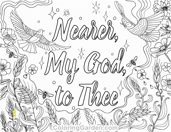 "Free printable ""Nearer My God to Thee"" adult coloring page Download"