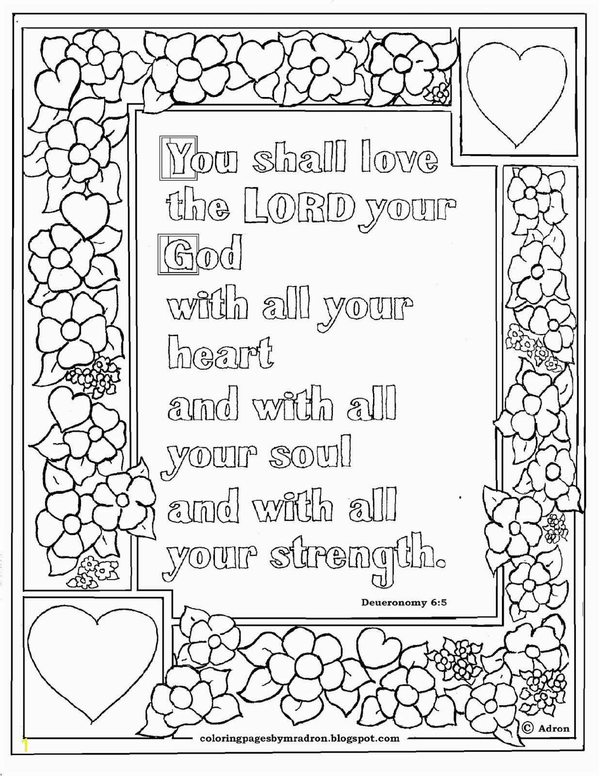Free Printable Bible Coloring Pages with Verses Deuteronomy 6 5 Bible Verse to Print and Color This is A Free