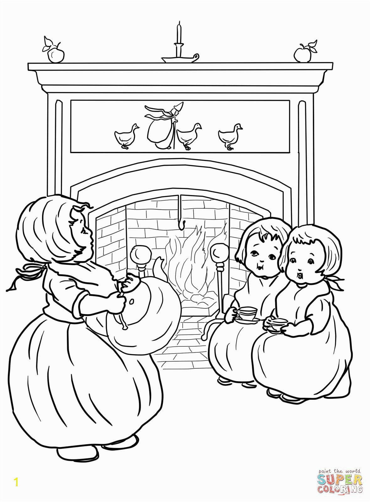 Polly Put the Kettle on Nursery Rhyme Coloring page Printable Crafts Free Printables Mary